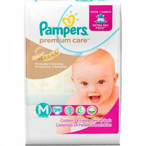Pañal Pampers Premium Care Med x 24