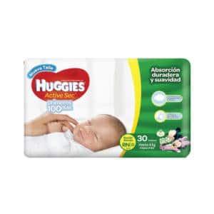 Pañal Huggies Active Sec Recien Nacido X30