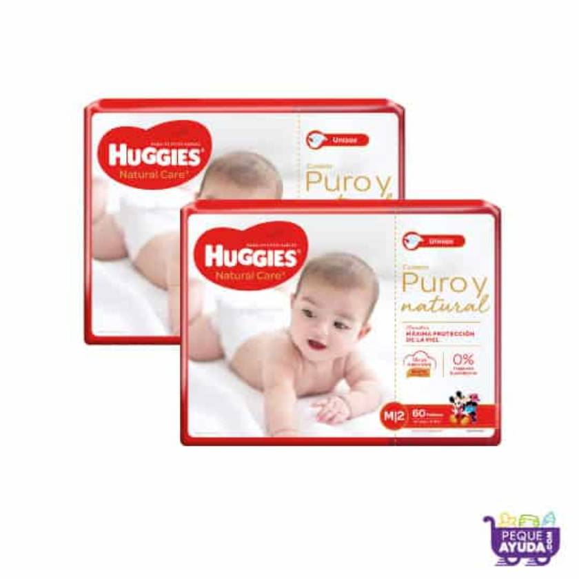 Pañal Huggies Natural Care Unisex M x 120 Promo