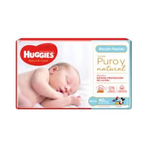 Pañal Huggies Natural Care Recién Nacido x 40 (puro y natural)
