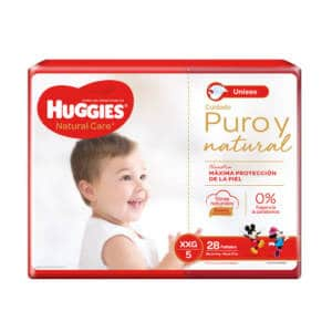 Pañal Huggies Natural Care Unisex XXG x28