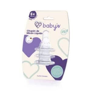 Chupón Babys Silicón Cuello Estándar Flujo Rápido 6m+ x 3 unidades
