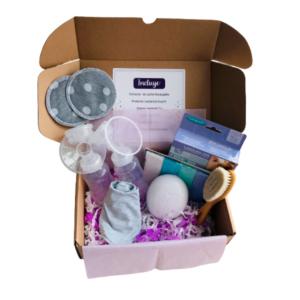PEQUE BOX - LACTANCIA B: Extractor de Leche Recargable + Protector de Lactancia Kuychi + Crema de Lansinoh + Babero de Tela + Toallita Carlitos + Peinilla de cerdas naturales